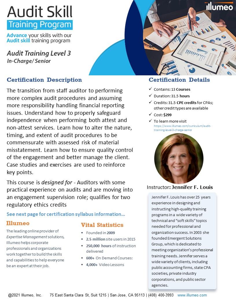 Audit Training Level 3 - In-Charge/ Senior