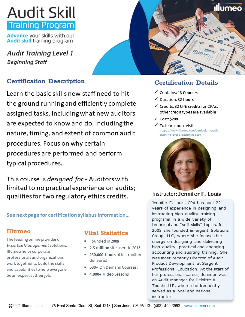 Audit Training Level 1 - Beginning Staff Flyer