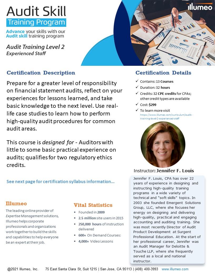Audit Training Level 2 - Experienced Staff