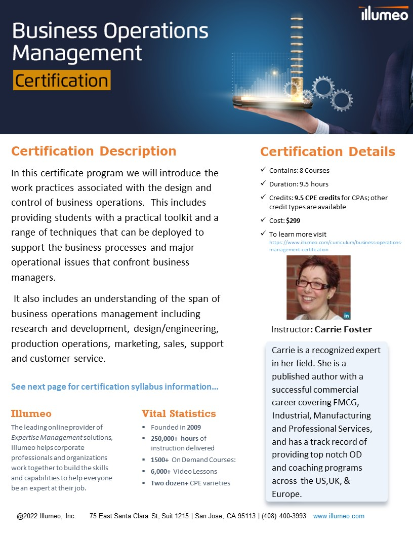 Business Operations Management Certification Flyer