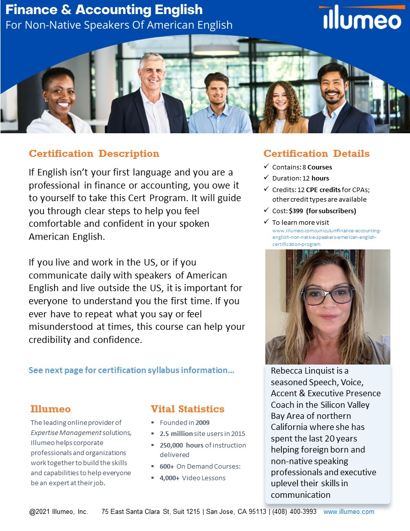 Finance & Accounting English For Non-Native Speakers of American English Certification Flyer