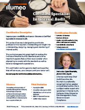 Internal Audit Specialist Certification Flyer