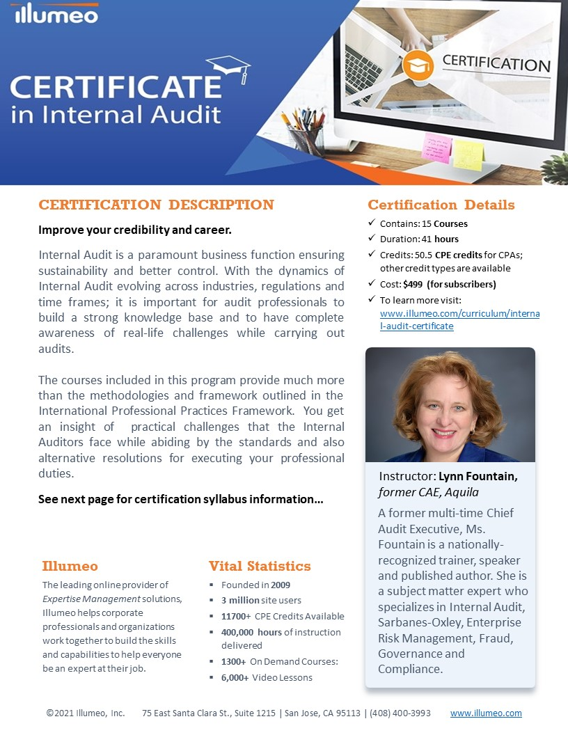 Internal Audit Certification Flyer