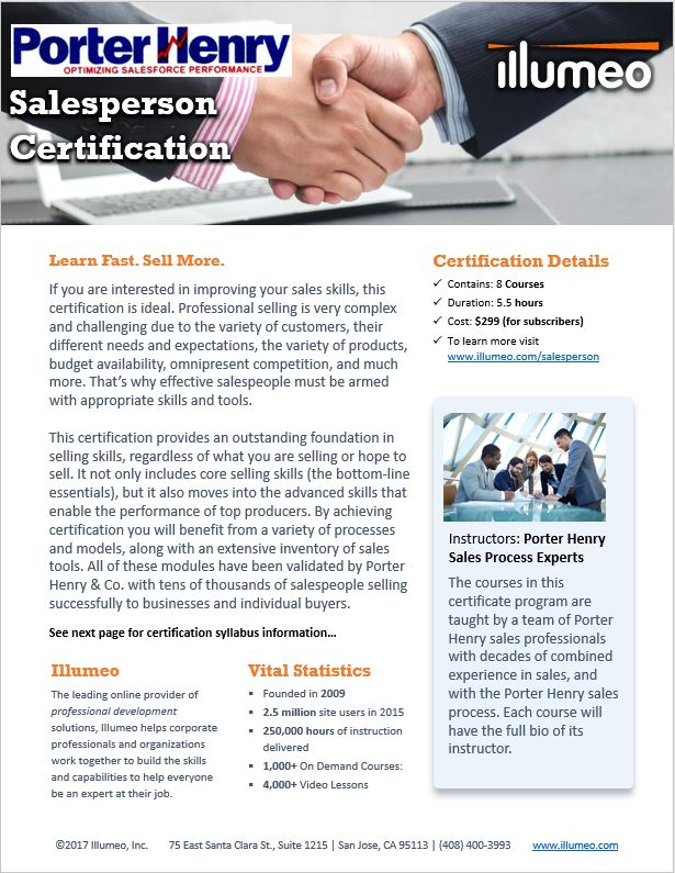 Porter Henry Salesperson Certification Flyer