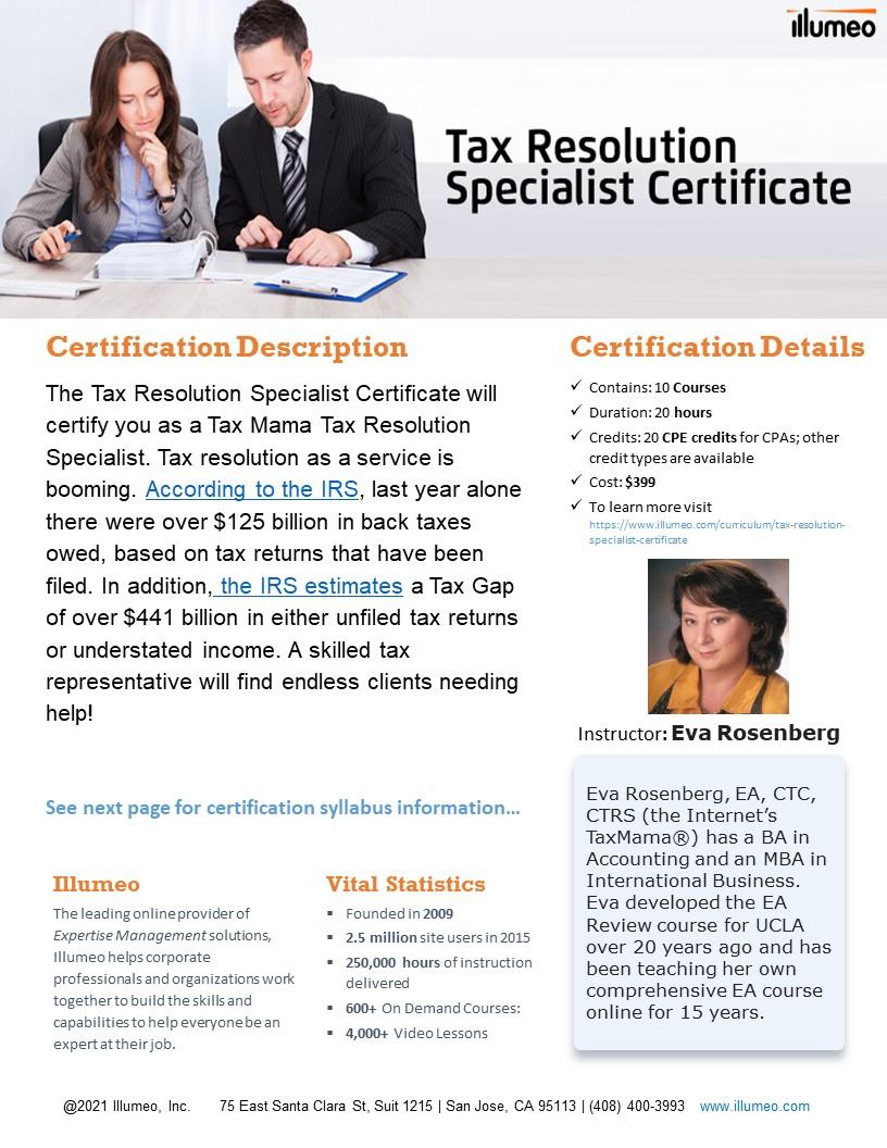 Tax Resolution Specialist Certificate Flyer