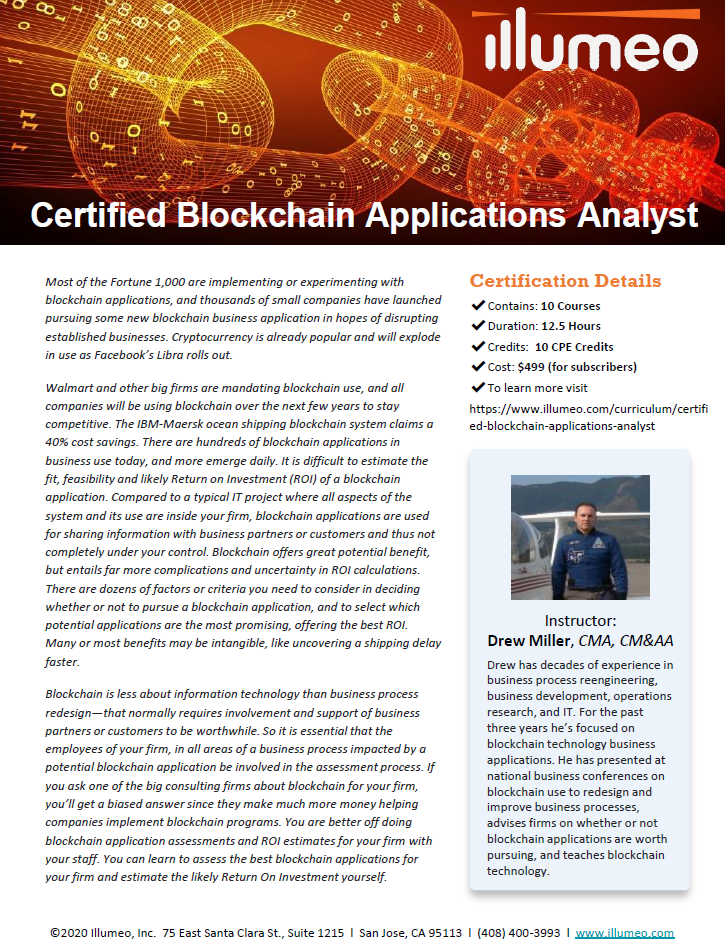 Certified Blockchain Applications Analyst Flyer