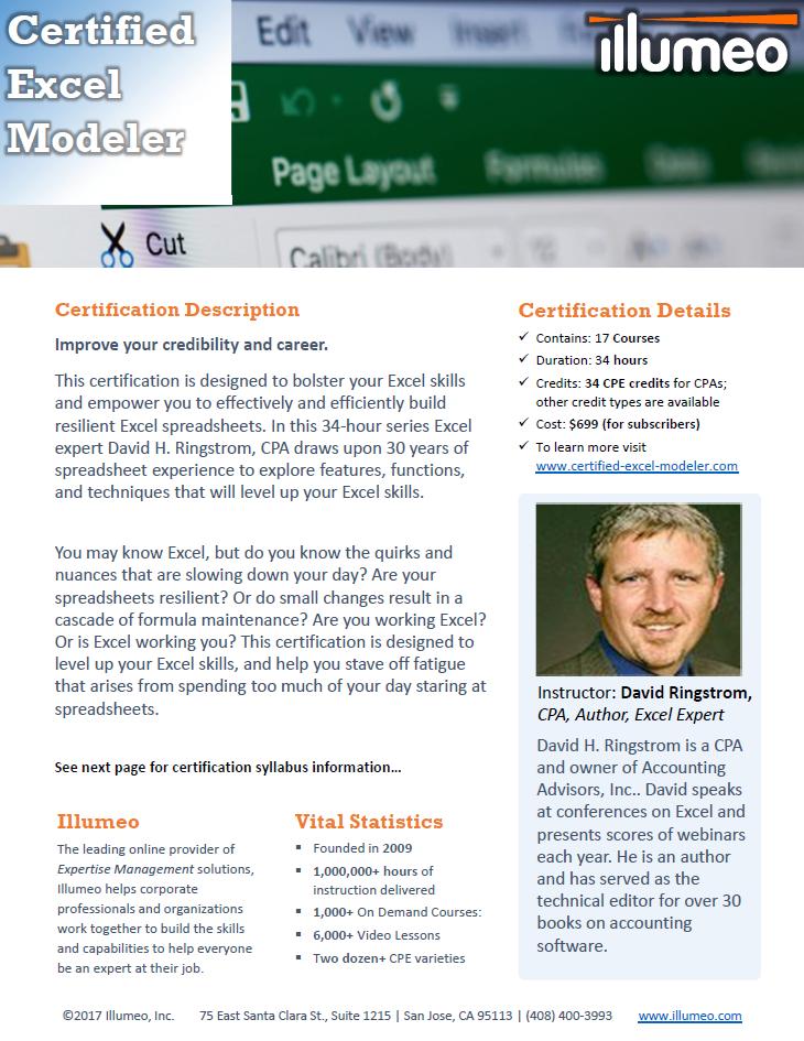 Certified Excel Modeler Flyer